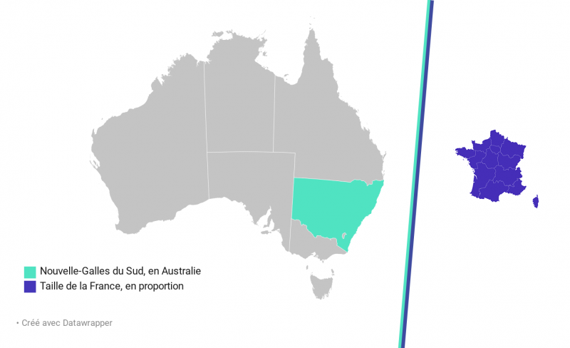 Nouvelle-Galles du Sud en Australie et taille de la France en proportion